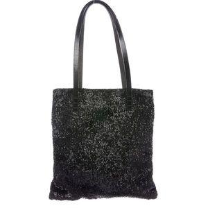 FENDI Black Baguette Beaded Evening Shoulder Bag